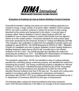 RIMA Interior Radiation Control Coatings Study