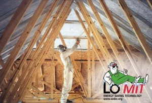LO/MIT installation image with logo, radiant barrier paint, attic heat barrier, cool attic